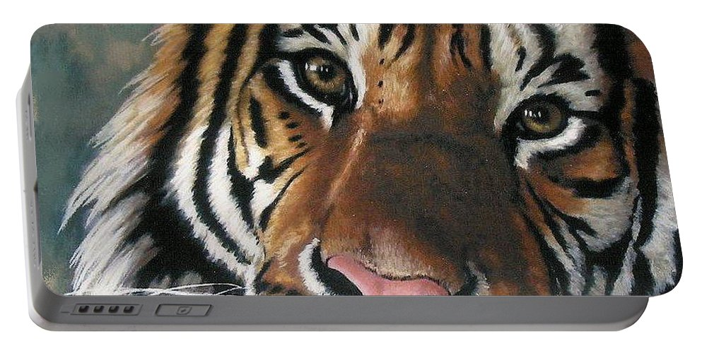 Tiger Portable Battery Charger featuring the pastel Tigger by Barbara Keith