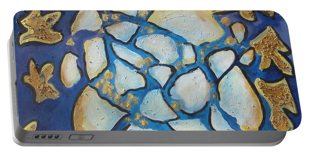 Abstract Portable Battery Charger featuring the painting Tikkun Olam Heal The World by Laurie Morgan