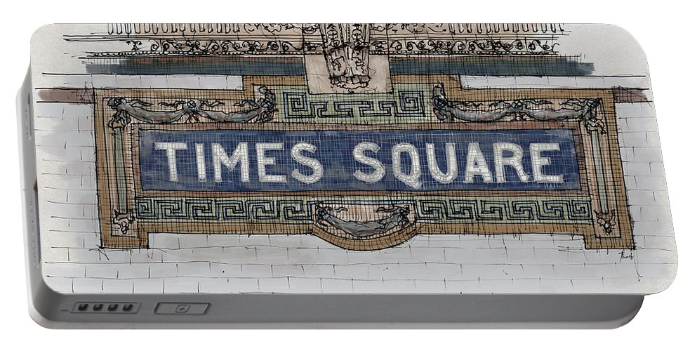 Tile Mosaic Portable Battery Charger featuring the painting Tile Mosaic Sign, Times Square Subway New York, Handmade Sketch by Drawspots Illustrations