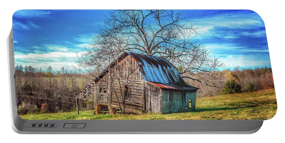 Tiled Forward Portable Battery Charger featuring the photograph Tilted Log Cabin by John Myers