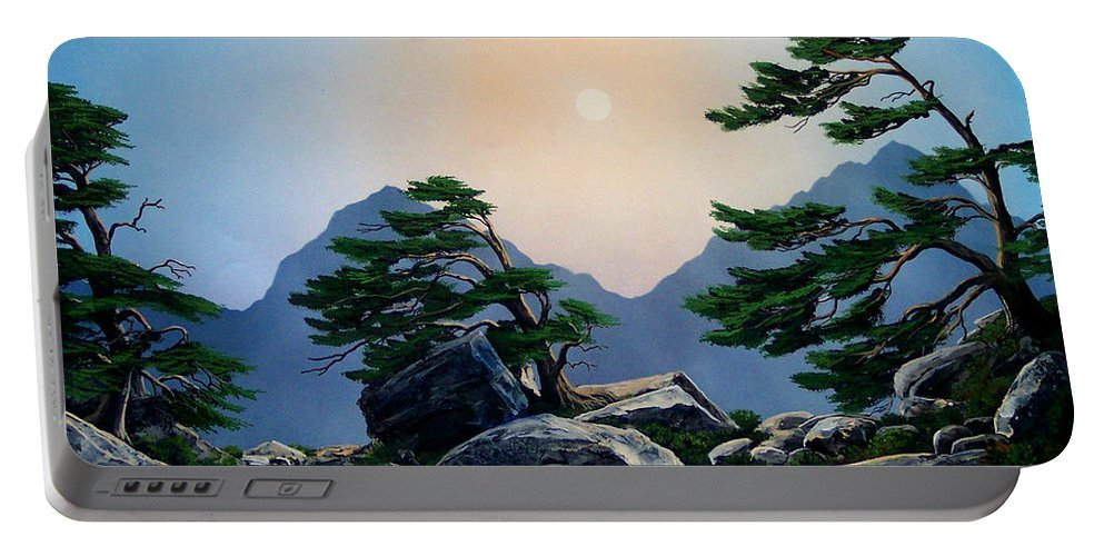 Timberline Guardians Portable Battery Charger featuring the painting Timberline Guardians by Frank Wilson