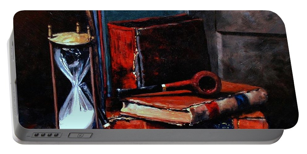 Still Life Painting Portable Battery Charger featuring the painting Time And Old Friends by Jim Gola