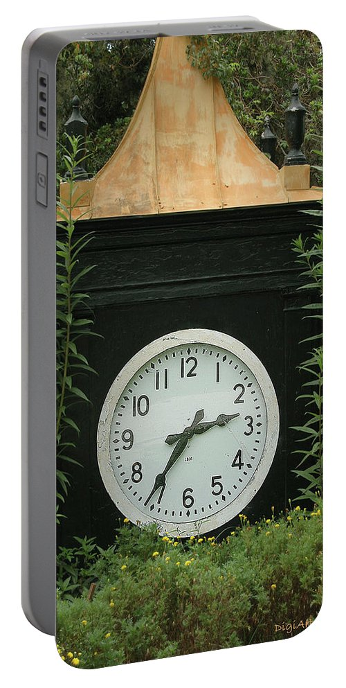 Clock Portable Battery Charger featuring the digital art Time In The Garden by DigiArt Diaries by Vicky B Fuller