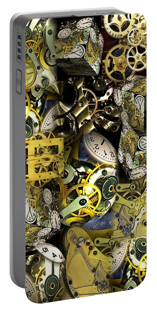 Collage Portable Battery Charger featuring the photograph Time is Stacking Up by Ron Bissett