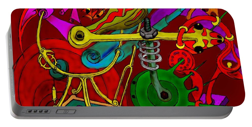 Impossible Portable Battery Charger featuring the digital art Time Machine by Helmut Rottler