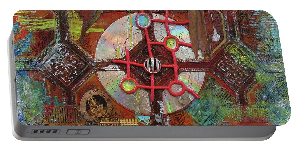 Assemblage Painting Portable Battery Charger featuring the painting Time Passage II by Elaine Booth-Kallweit