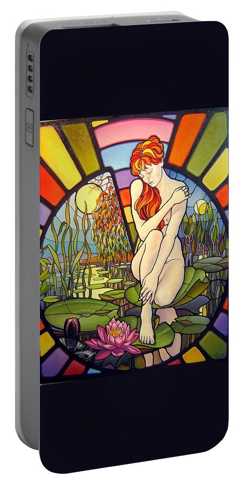 Art Oil Painting Canvas Stained Glass Woman Time Portable Battery Charger featuring the painting Time Passing By by Gyuri Lohmuller