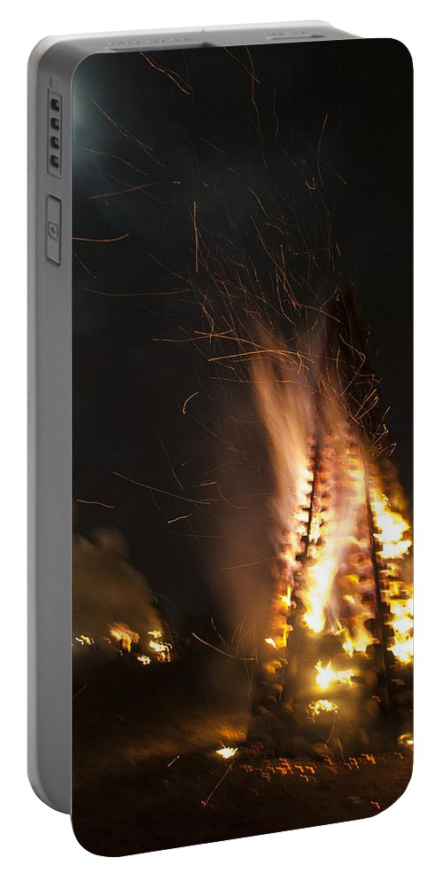 Bonfire Portable Battery Charger featuring the photograph Time To Burn by Mykel Davis