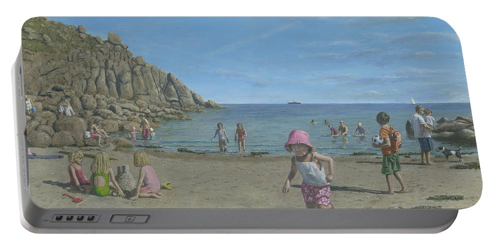 Seascape Portable Battery Charger featuring the painting Time To Go Home - Porthgwarra Beach Cornwall by Richard Harpum