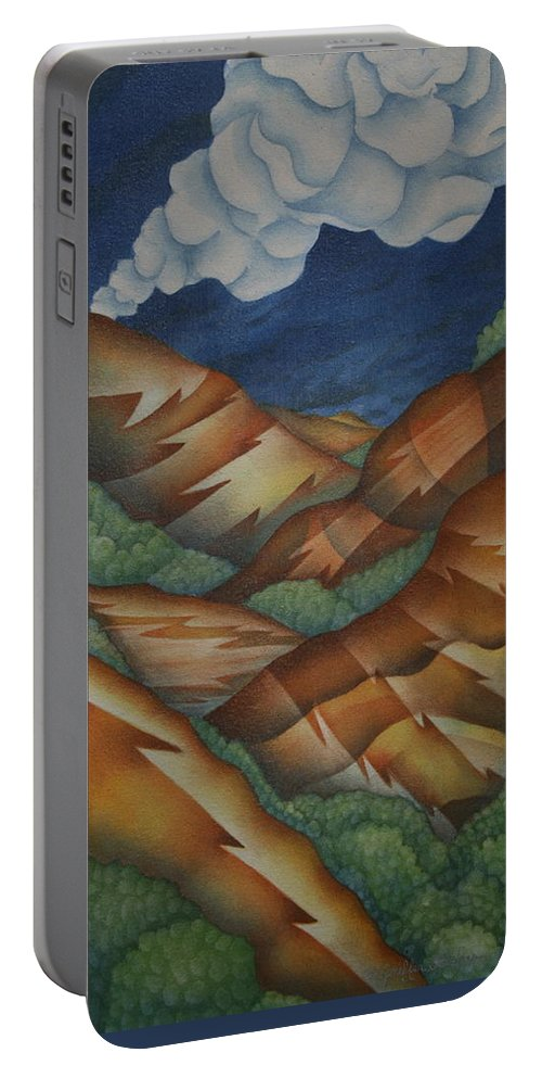 Mountains Portable Battery Charger featuring the painting Time To Seek Shelter by Jeniffer Stapher-Thomas