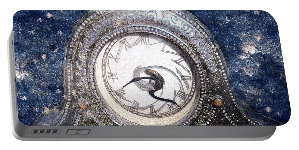 Clock Portable Battery Charger featuring the painting Time Warp by RC DeWinter