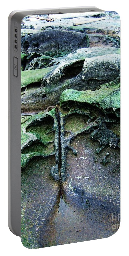 Photograph Rock Beach Ocean Portable Battery Charger featuring the photograph Time Washed Out by Seon-Jeong Kim
