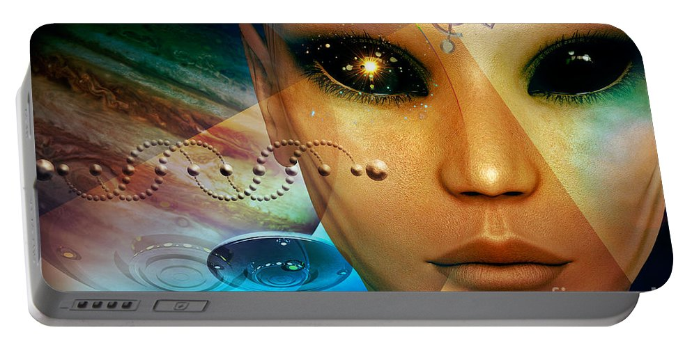 Timeless Traveller Portable Battery Charger featuring the digital art Timeless Traveller by Shadowlea Is