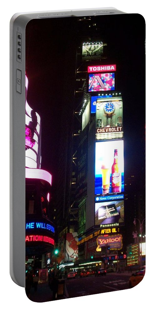 Times Square Portable Battery Charger featuring the photograph Times Square 1 by Anita Burgermeister