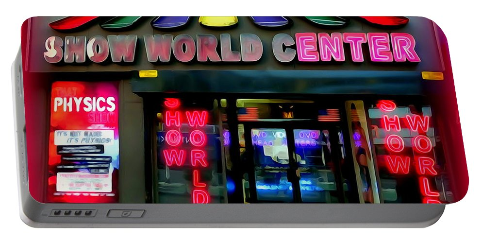 Digital Art Portable Battery Charger featuring the digital art Times Square Fading by Ed Weidman