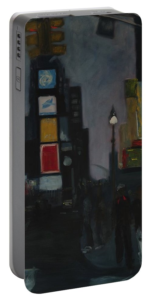 Cityscape Portable Battery Charger featuring the painting Times Square Night by Gail Eisenfeld
