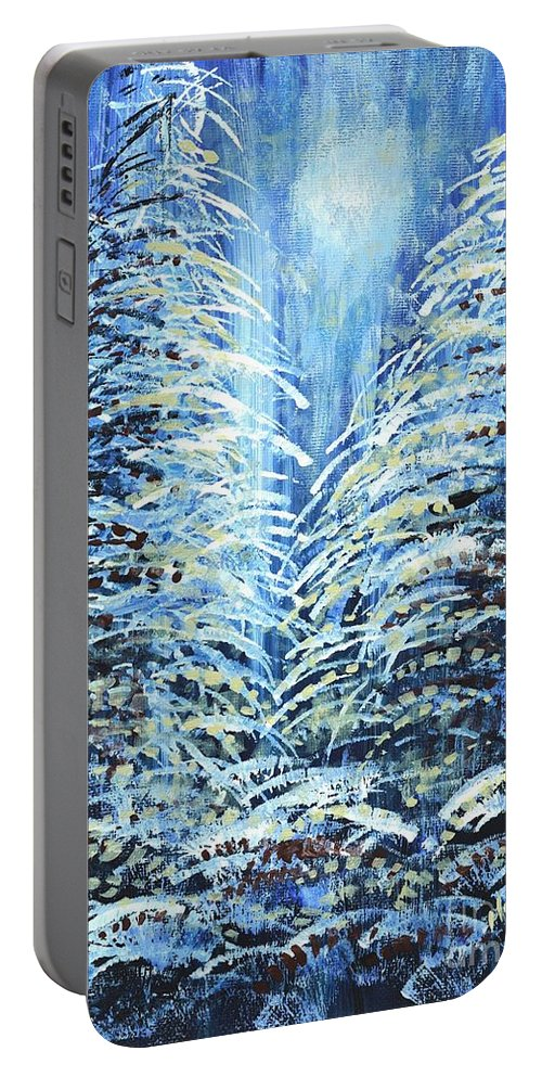 Forest Portable Battery Charger featuring the painting Tim's Winter Forest by Holly Carmichael