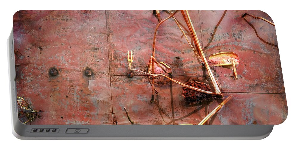 Tin Door Portable Battery Charger featuring the photograph Tin Door - Red Pond by Wayne Sherriff