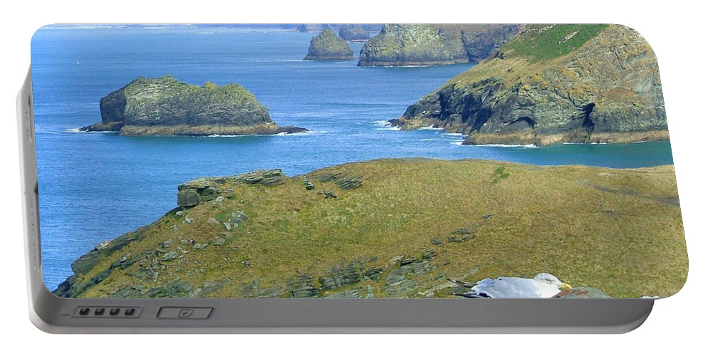 Cornwall Portable Battery Charger featuring the photograph Tintagel by Heather Lennox