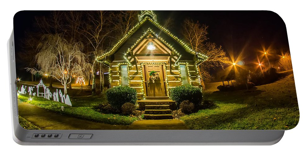 Tiny Portable Battery Charger featuring the photograph Tiny Chapel With Lighting At Night by Alex Grichenko