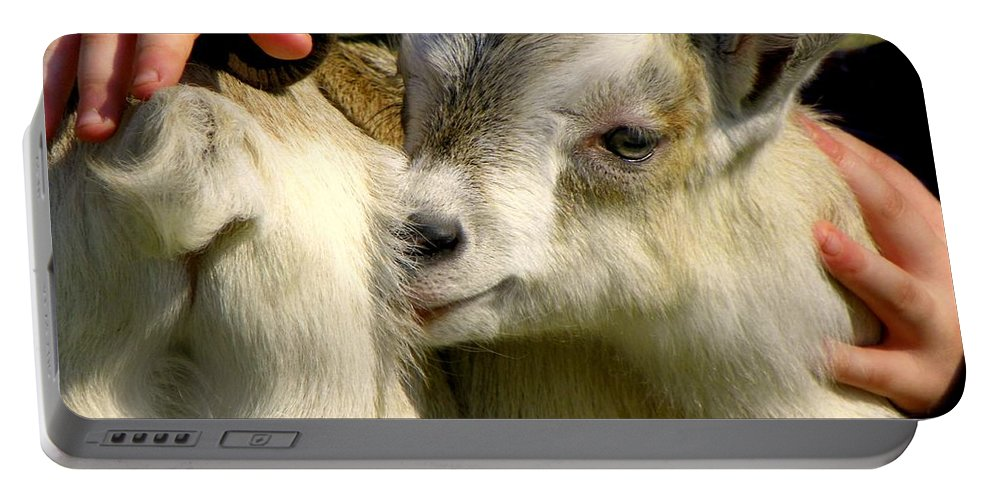 Baby Goats Portable Battery Charger featuring the photograph Tiny Hands by Karen Wiles