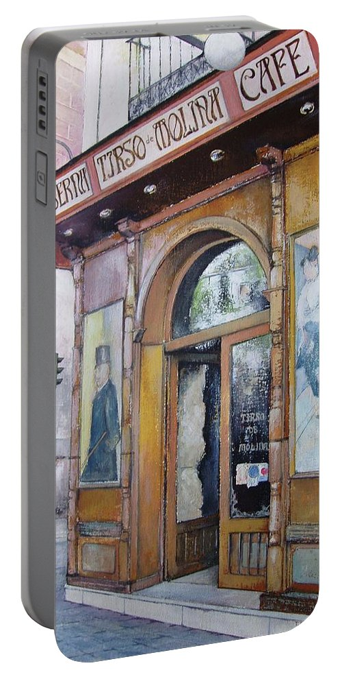 Tirso Portable Battery Charger featuring the painting Tirso De Molina Old Tavern by Tomas Castano