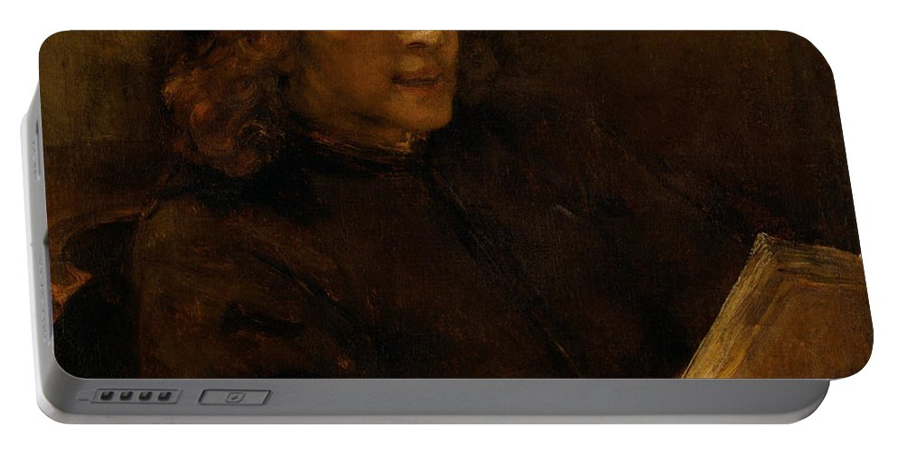 Rembrandt Portable Battery Charger featuring the painting Titus Van Rijn, The Artist's Son, Reading by Rembrandt