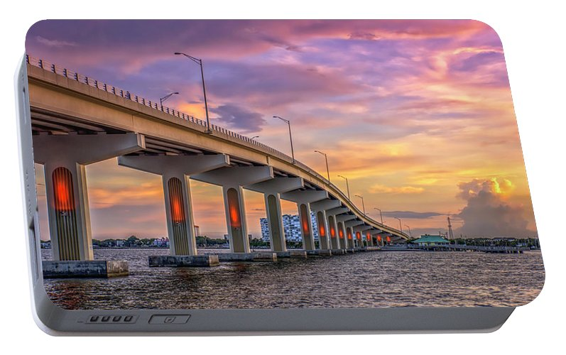 Bridge Portable Battery Charger featuring the photograph Titusville Sunset Bridge by Louise Hill