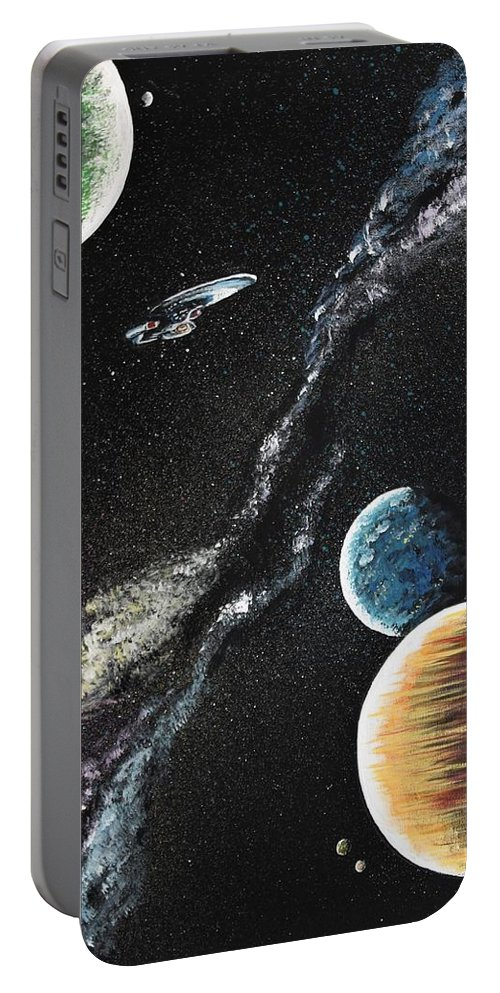 Space Portable Battery Charger featuring the painting To Boldly Go by Kat Heckenbach