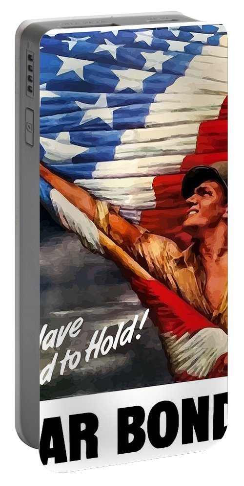 American Flag Portable Battery Charger featuring the painting To Have And To Hold - War Bonds by War Is Hell Store