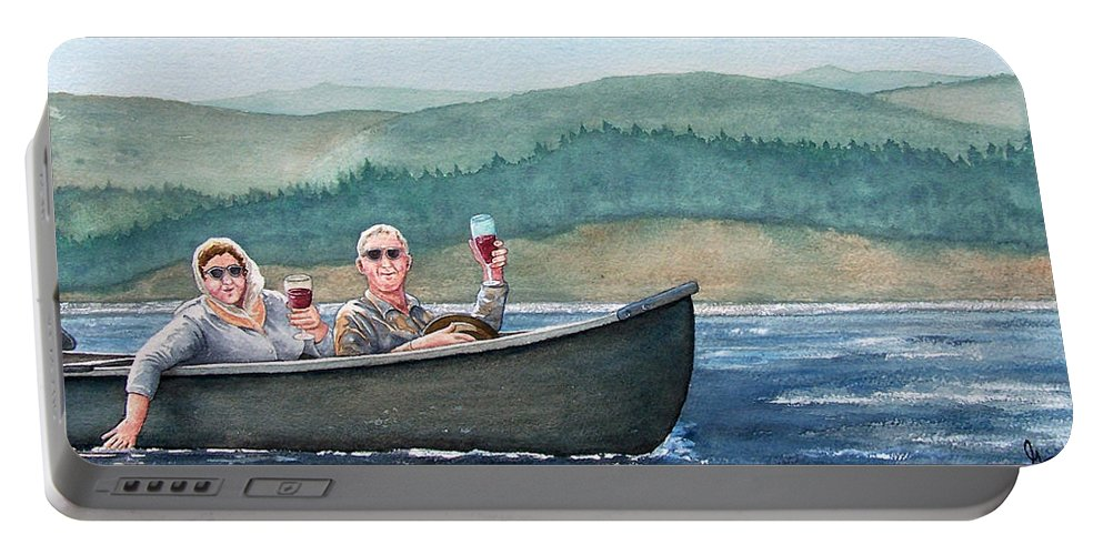 Canoe Portable Battery Charger featuring the painting To Life by Gale Cochran-Smith