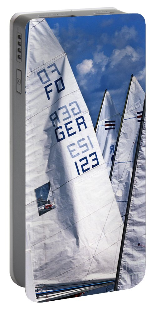 Sailboat Portable Battery Charger featuring the photograph To Sea - To Sea by Heiko Koehrer-Wagner