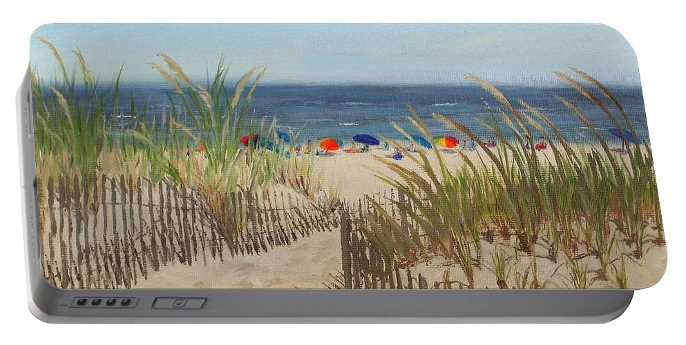 Beach Portable Battery Charger featuring the painting To The Beach by Lea Novak
