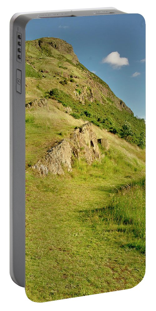 Edinburgh Portable Battery Charger featuring the photograph To The Top Of Arthur's Seat. by Elena Perelman