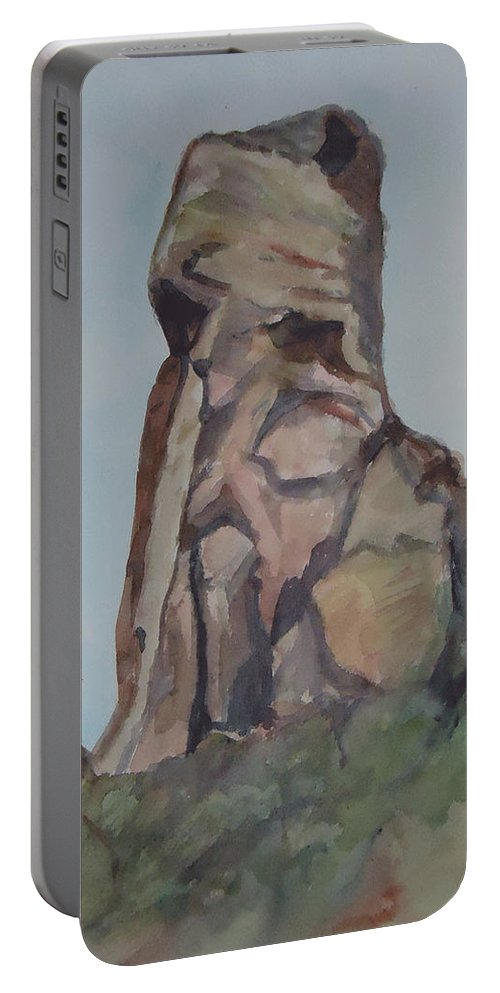 Rock Formation Portable Battery Charger featuring the painting Toad Rock by Charme Curtin