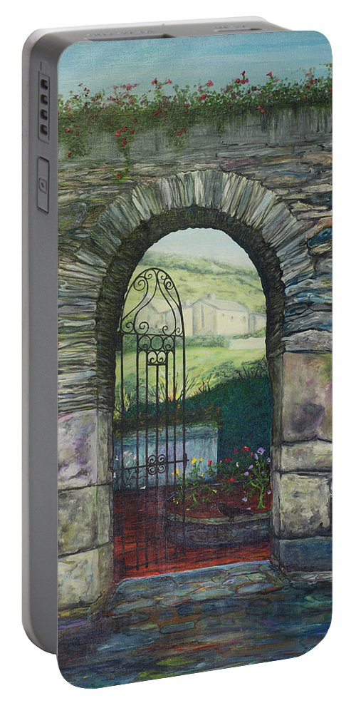 Portable Battery Charger featuring the painting Tobar Na Croiche by Sheila Carey