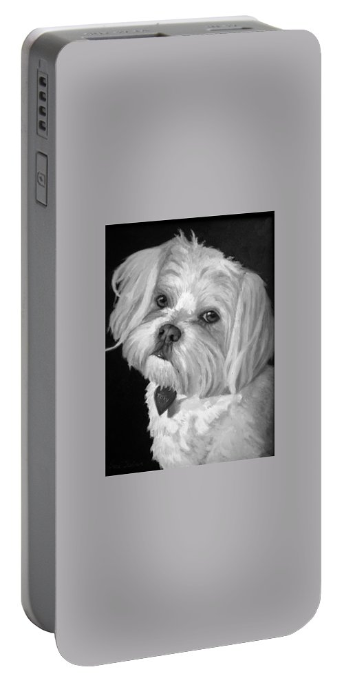 Dogs Portable Battery Charger featuring the painting Toby by Portraits By NC
