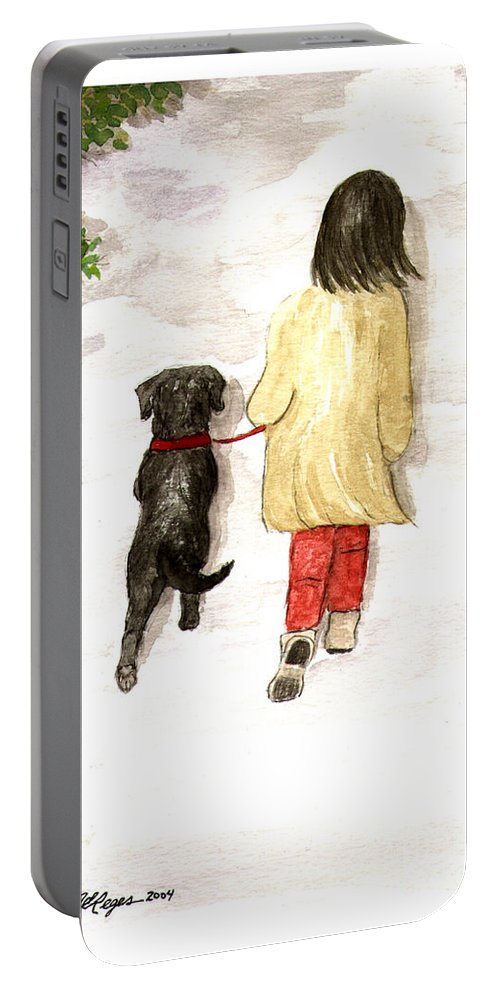 Lab Portable Battery Charger featuring the painting Together - Black Labrador And Woman Walking by Amy Reges
