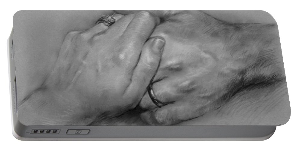 Fine Art Portable Battery Charger featuring the drawing Together For Ever by Ylli Haruni