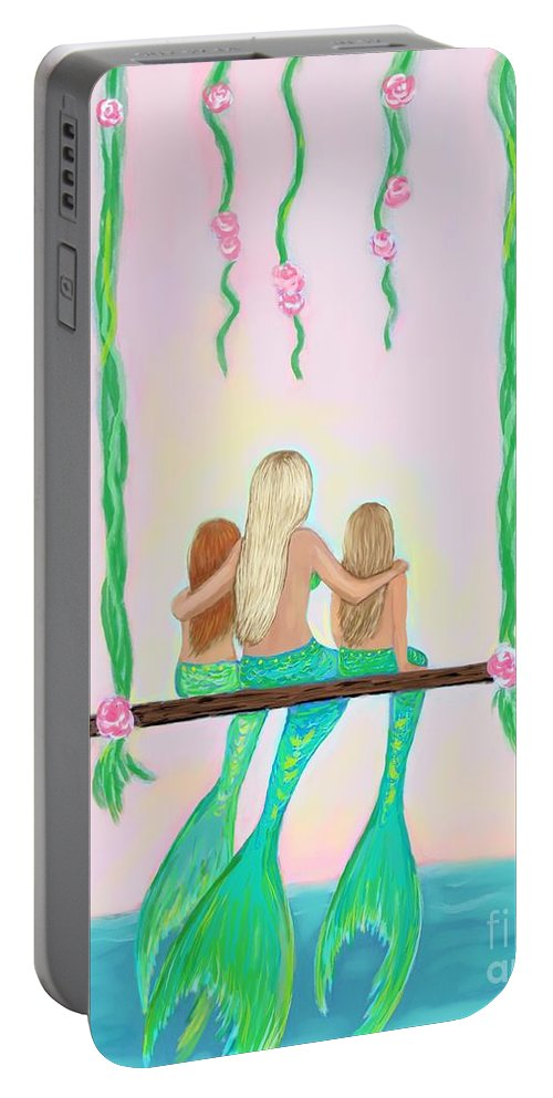 Mermaid Portable Battery Charger featuring the painting Together Fun by Leslie Allen