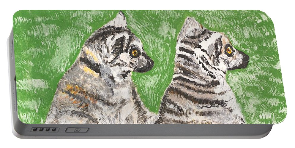 Katta Portable Battery Charger featuring the painting Together by Valerie Ornstein