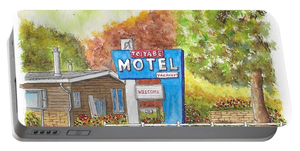Toiyabe Motel Portable Battery Charger featuring the painting Toiyabe Motel In Walker, California by Carlos G Groppa