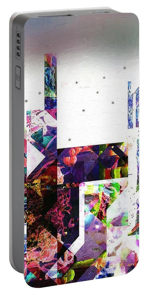 Abstract Portable Battery Charger featuring the painting Tokyo Dawn by RC DeWinter