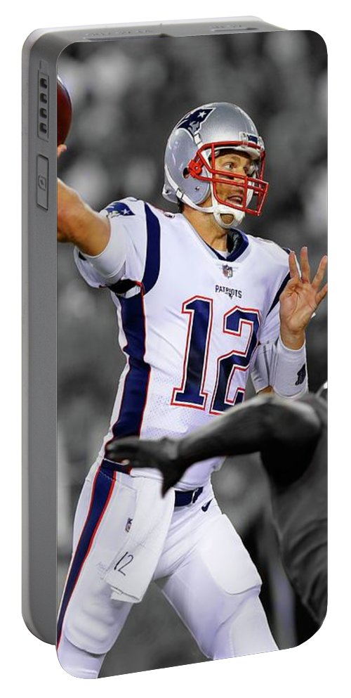 Tom Brady Portable Battery Charger featuring the pyrography Tom Brady Patriots Super Bowl by Movie Poster Prints