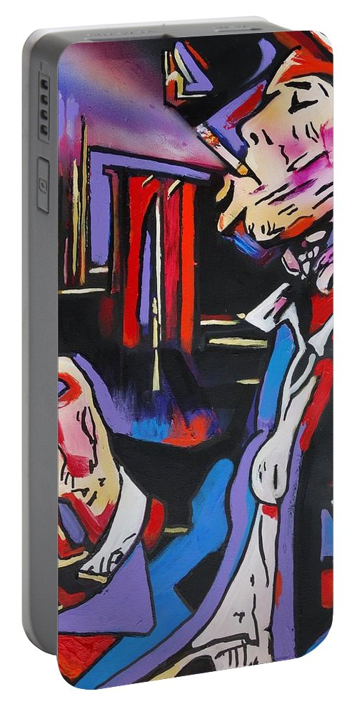 Tom Waits Portable Battery Charger featuring the painting Tom Traubert's Blues by Eric Dee
