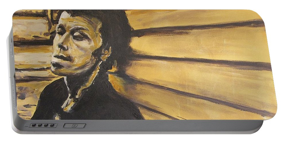 Tom Waits Portable Battery Charger featuring the painting Tom Waits by Eric Dee