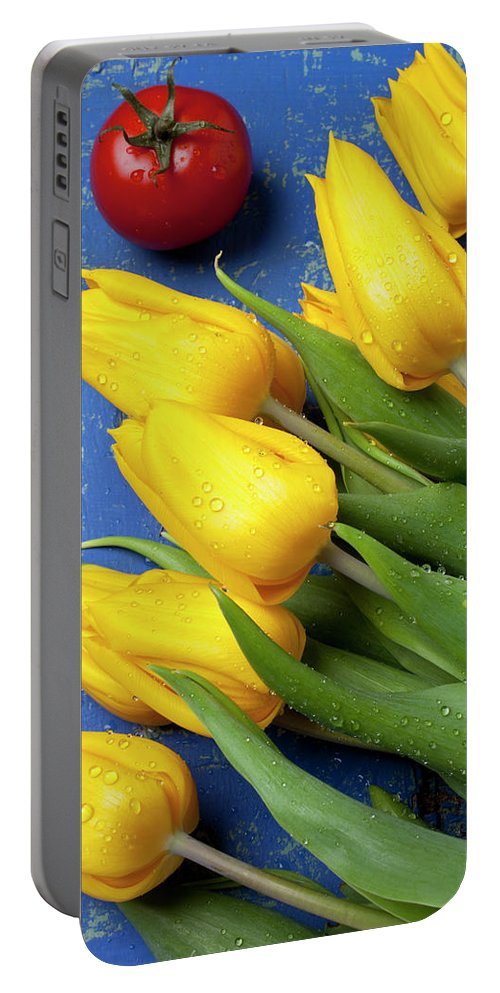 Tomato Food Flowers Tomatoes Portable Battery Charger featuring the photograph Tomato And Tulips by Garry Gay
