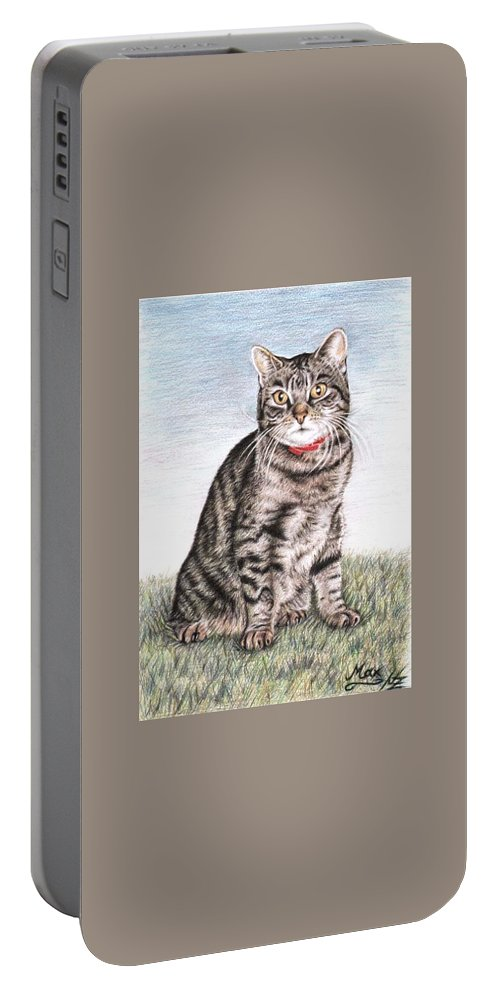 Cat Portable Battery Charger featuring the drawing Tomcat Max by Nicole Zeug