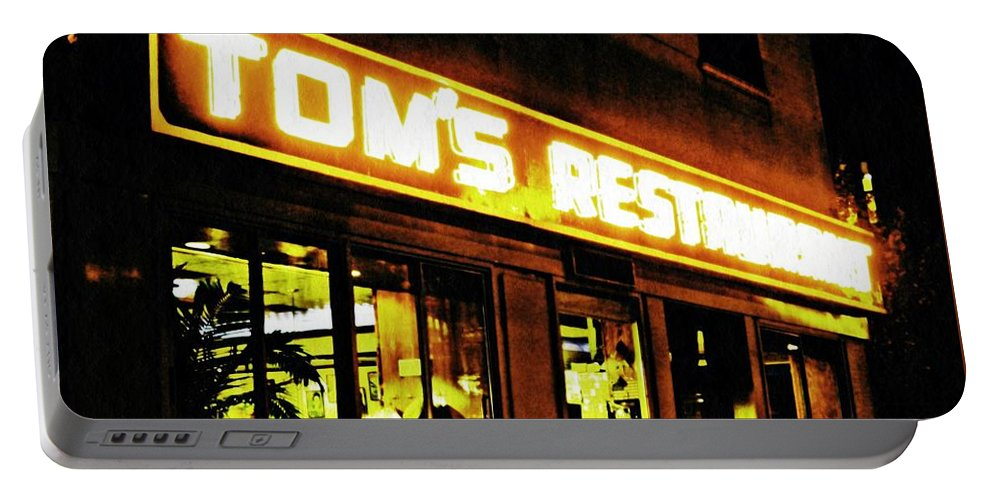 Diner Portable Battery Charger featuring the photograph Tom's Restaurant by Sarah Loft