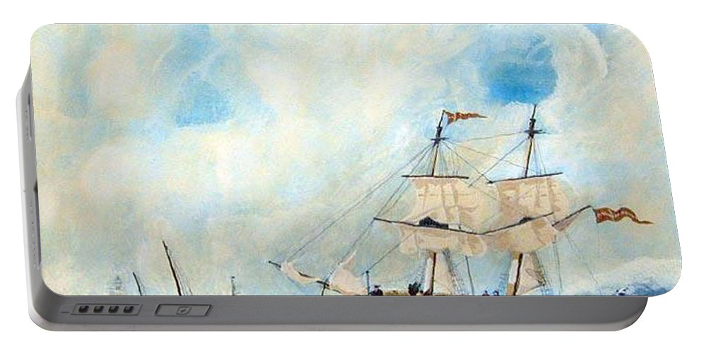 Sailing Portable Battery Charger featuring the painting Too Close To Shore by Richard Le Page